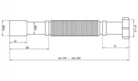 "Гофротруба 1/4 ""х 32/40, 410-800 мм"