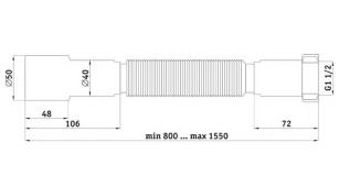 "Гофротруба 1 1/2 ""х 40/50, 800-1550 мм"